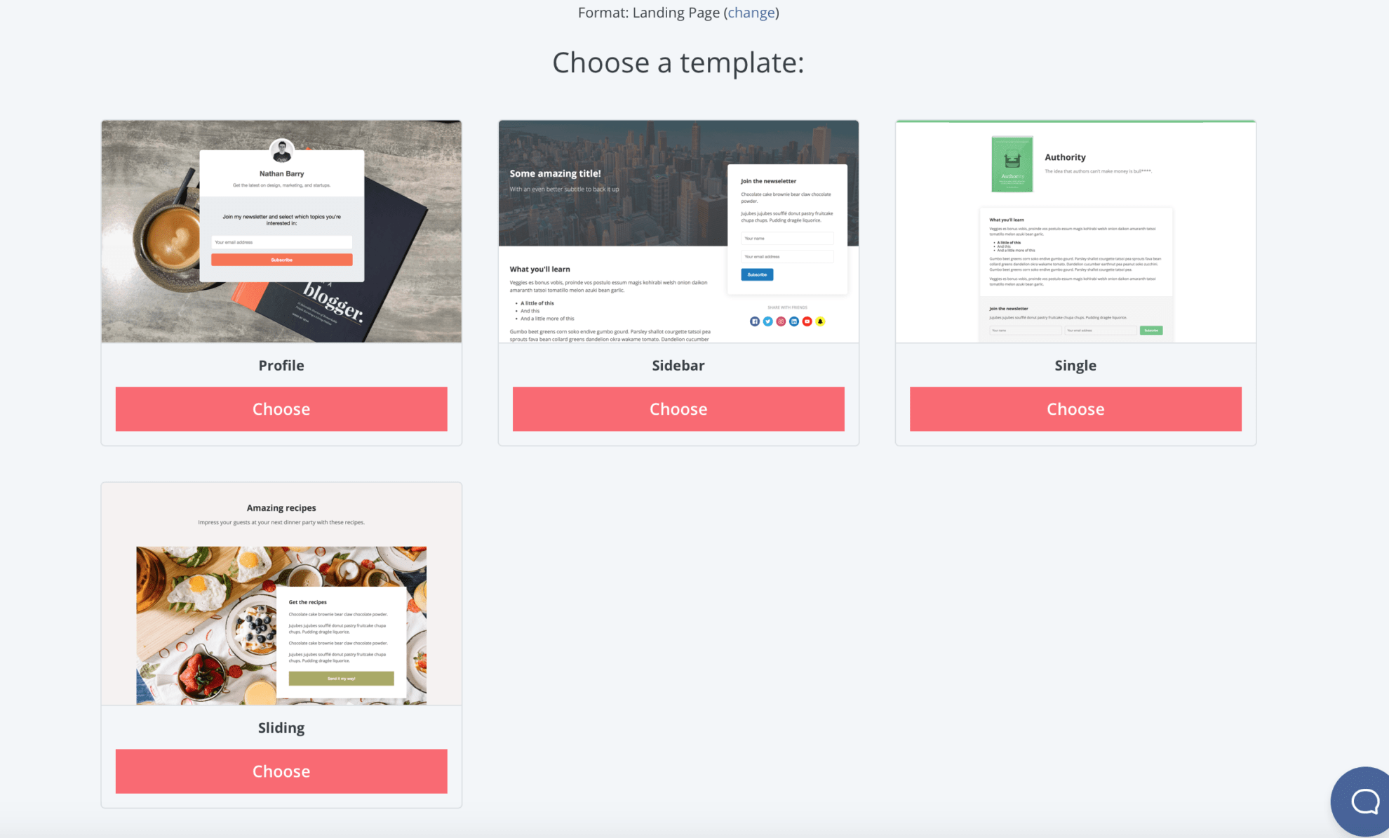 """Once you click on """"Landing Page"""", you'll have the option of picking which design you prefer for your landing page."""