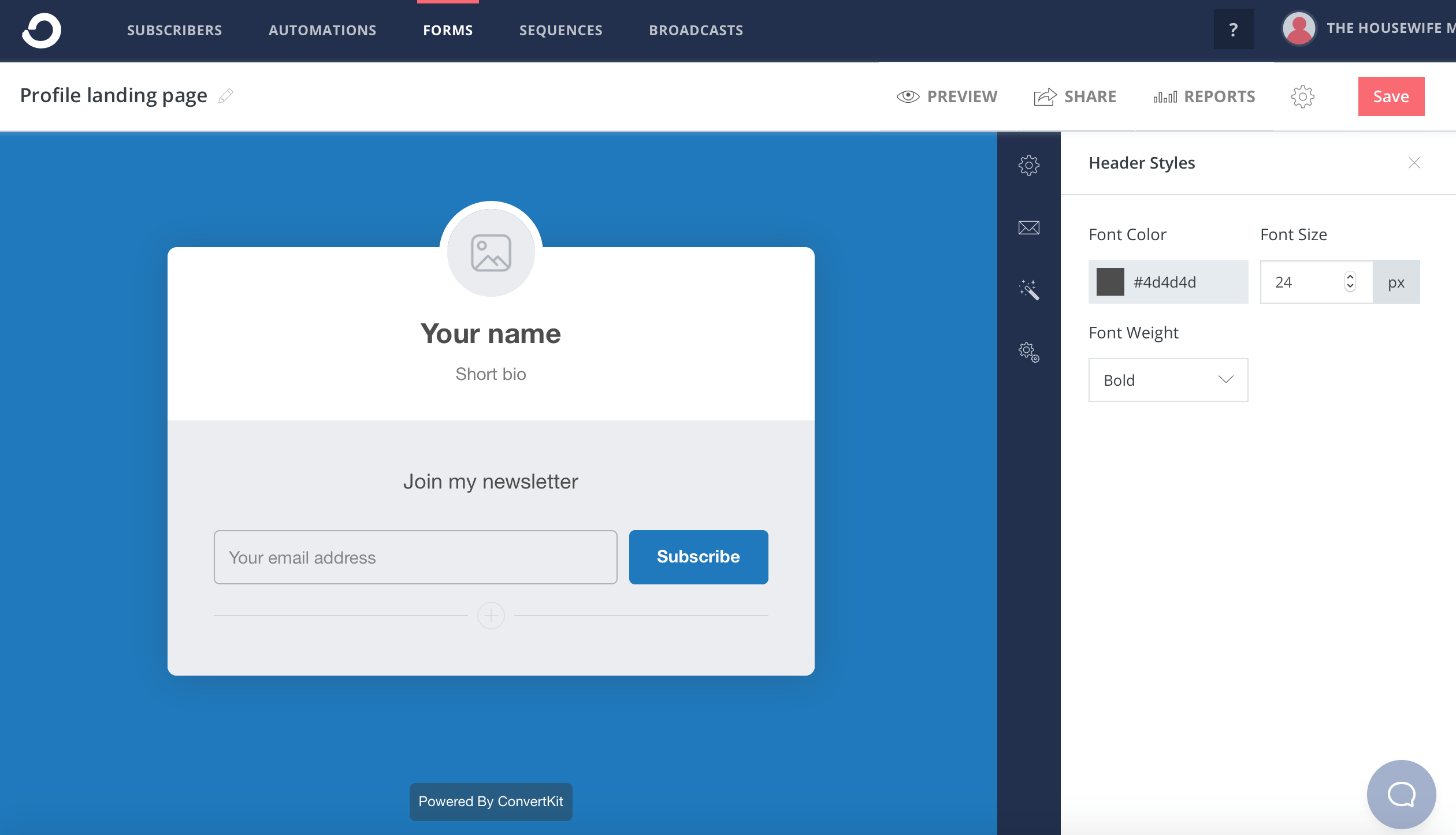 """As with regular forms, just click on what you want to edit, such as where it says """"your name"""" and a box of options you can edit will pop up on your right."""