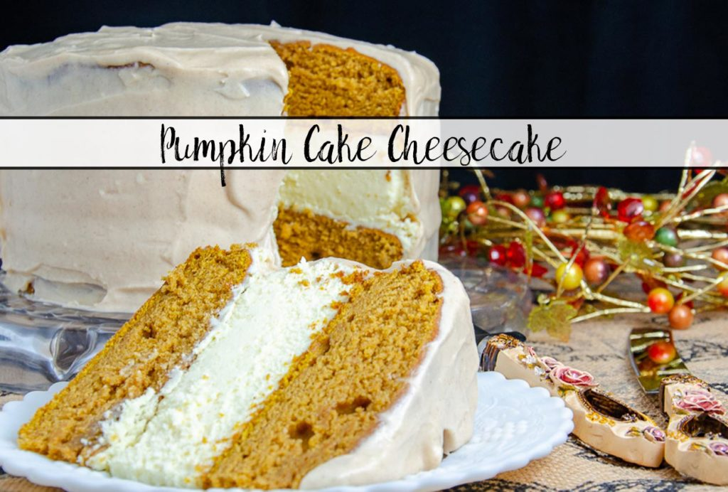 Featured image of pumpkin cake cheesecake.