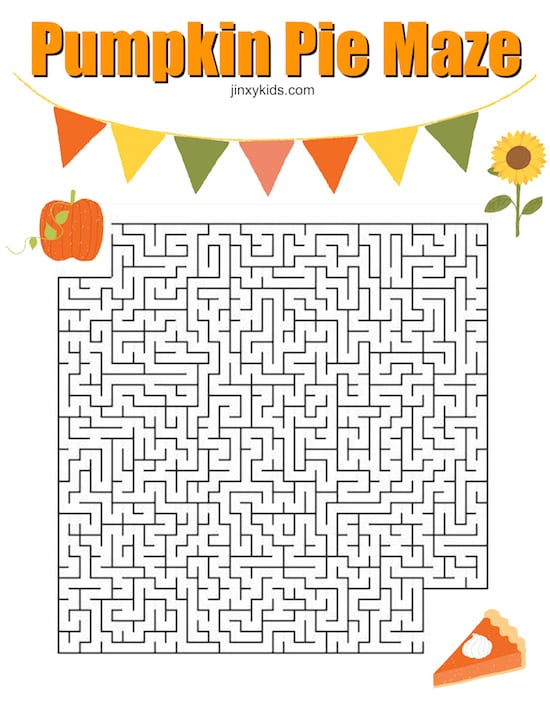 Pumpkin Pie Maze. Part of Free Thanksgiving Printables Round-Up. Over 50 free Thanksgiving printables including decor, planners, labels, food decoration, and more! #thanksgiving #free #printable #freeprintable #thanksgivingprintable