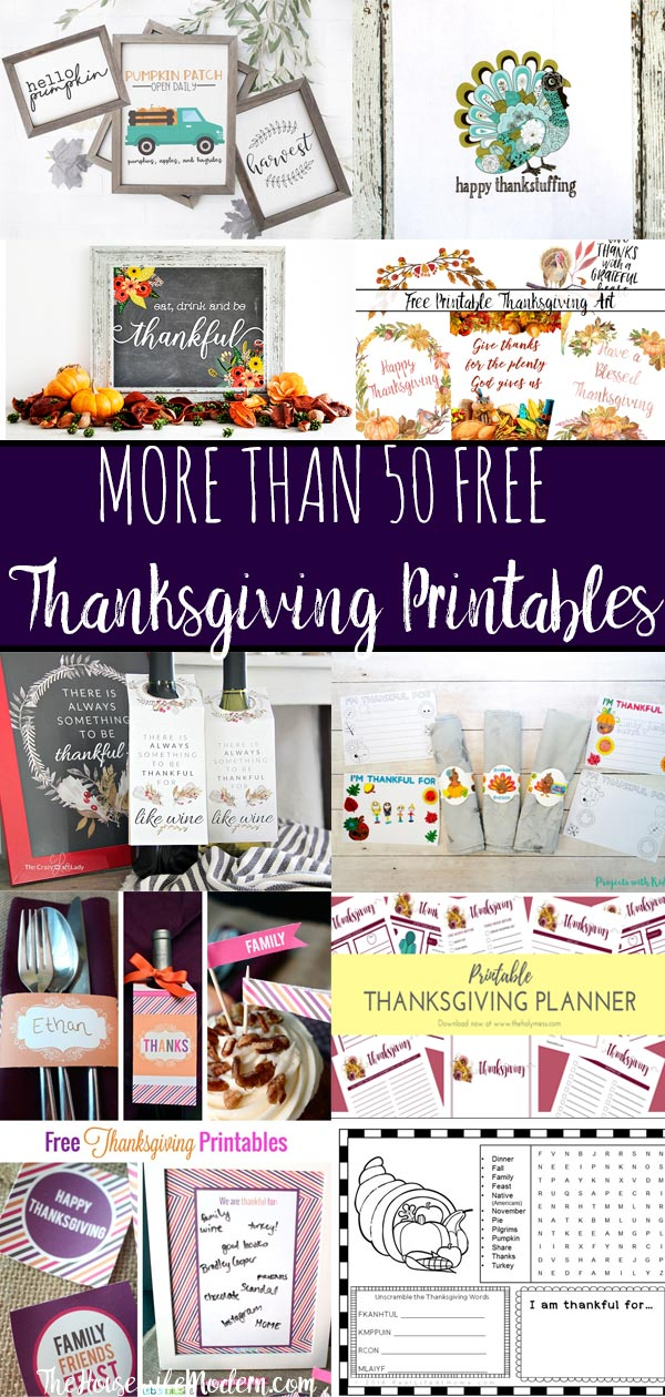 Free Thanksgiving Printables Round-Up. Over 50 free Thanksgiving printables including decor, planners, labels, food decoration, and more! #thanksgiving #free #printable #freeprintable #thanksgivingprintable