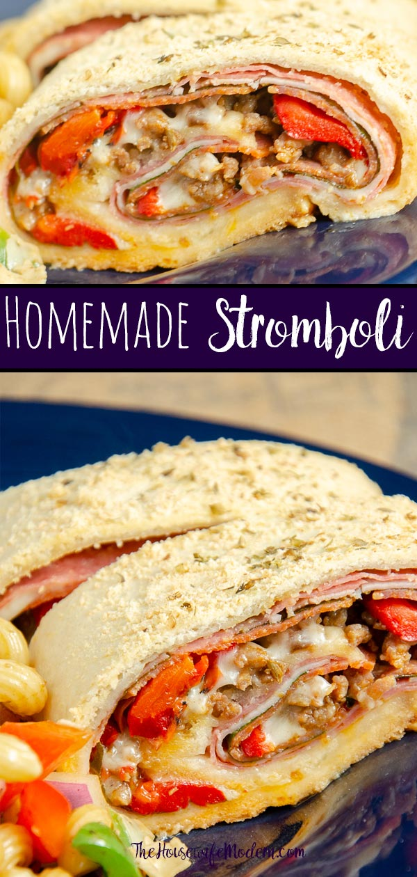 Homemade Stromboli- Like Your Favorite Pizzeria. Easy to make, loaded with 4 meats, 2 cheeses, & vegetables. Great for dinner or an appetizer. #stromboli #Italian #appetizer #dinner #homemade #fromscratch