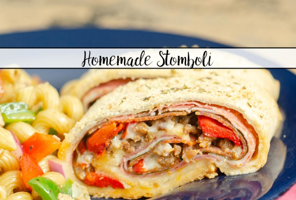 Homemade Stromboli- Like Your Favorite Pizzeria. Easy to make, loaded with 4 meats, 2 cheeses, & vegetables. Great for dinner or an appetizer.