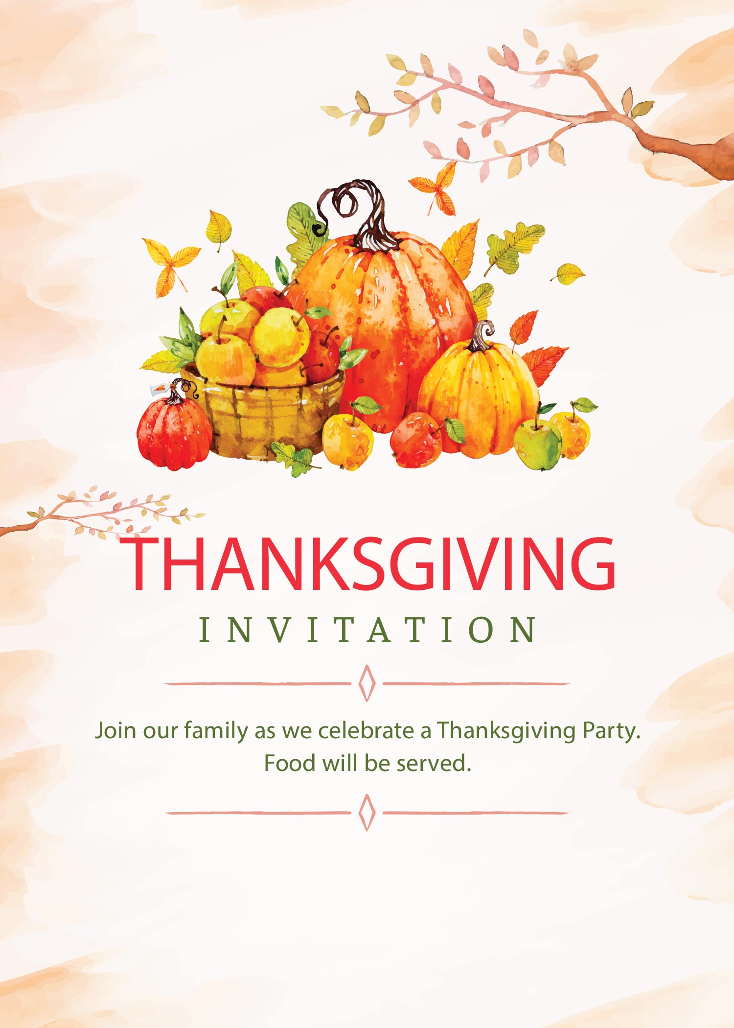 image relating to Printable Thanksgiving Invitations referred to as Cost-free Printable Thanksgiving Invites: Editable or Print