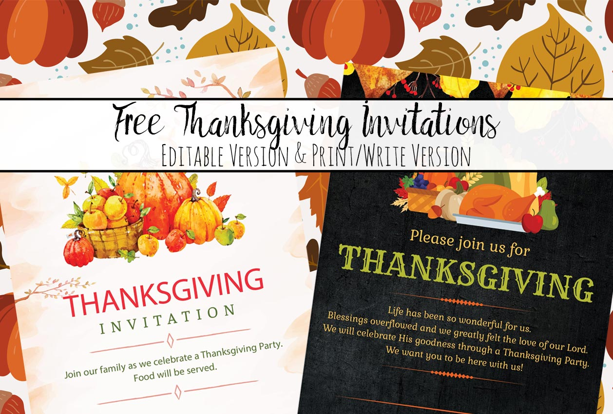 picture regarding Printable Thanksgiving Invitations identified as Cost-free Printable Thanksgiving Invites: Editable or Print
