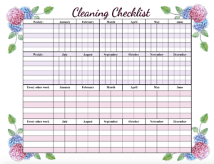 Blank regular cleaning checklist. Free printable cleaning checklists. Pre-filled and blanks. Regular & deep-cleaning. Great for kids' chores!