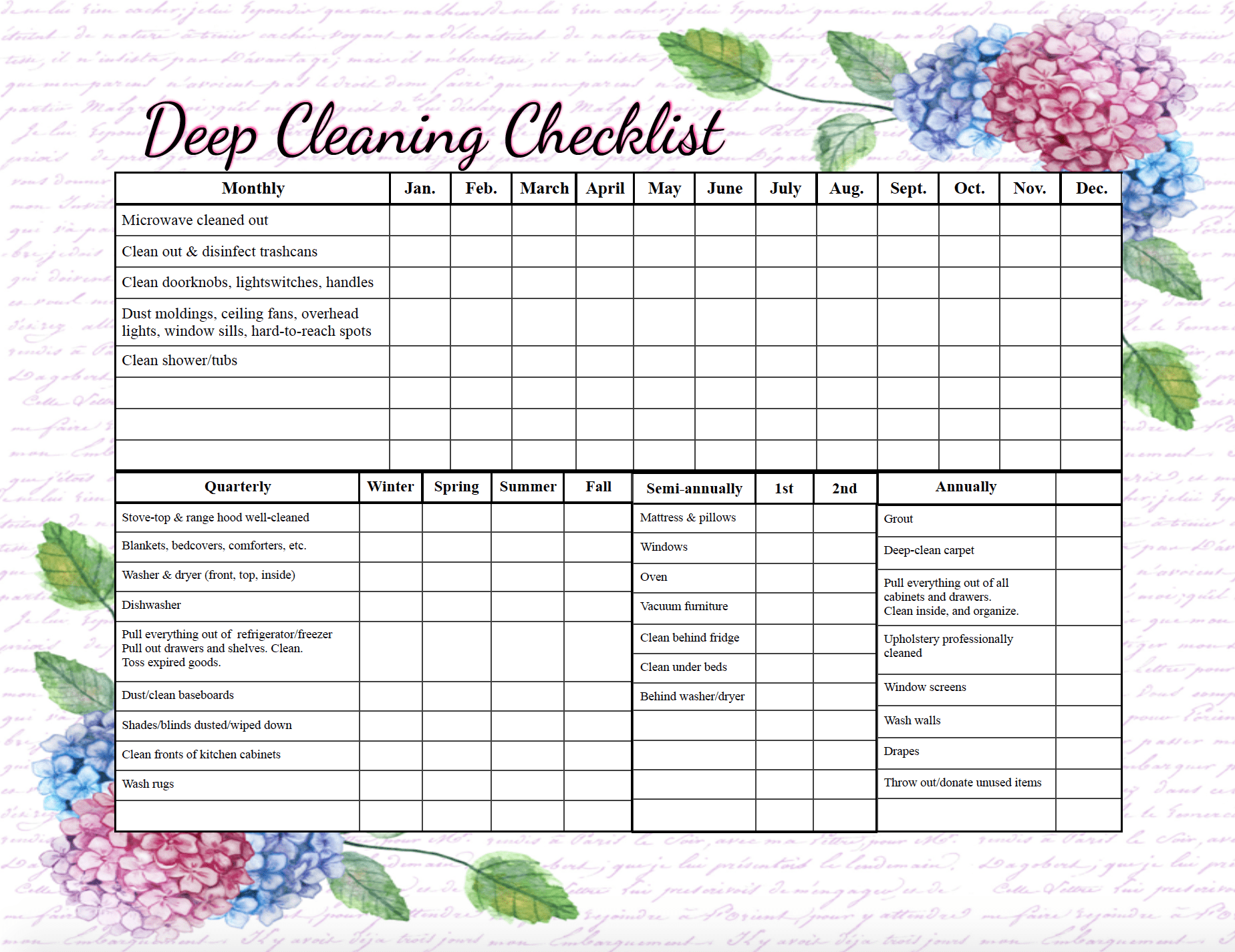 Pre-filled out deep-cleaning checklist. Free printable cleaning checklists. Pre-filled and blanks. Regular & deep-cleaning. Great for kids' chores!