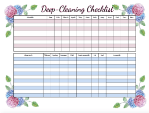 Deep cleaning checklist. Free printable cleaning checklists. Pre-filled and blanks. Regular & deep-cleaning. Great for kids' chores!