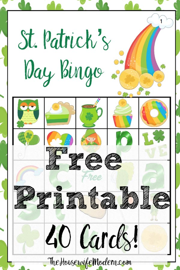 "Free Printable St. Patrick's Day Bingo. Plus an optional twist on how to play ""Lucky Bingo"". 40 cards…enough for an entire class or changing cards. #bingo #free #printable #freeprintable #stpat #stpatrick"