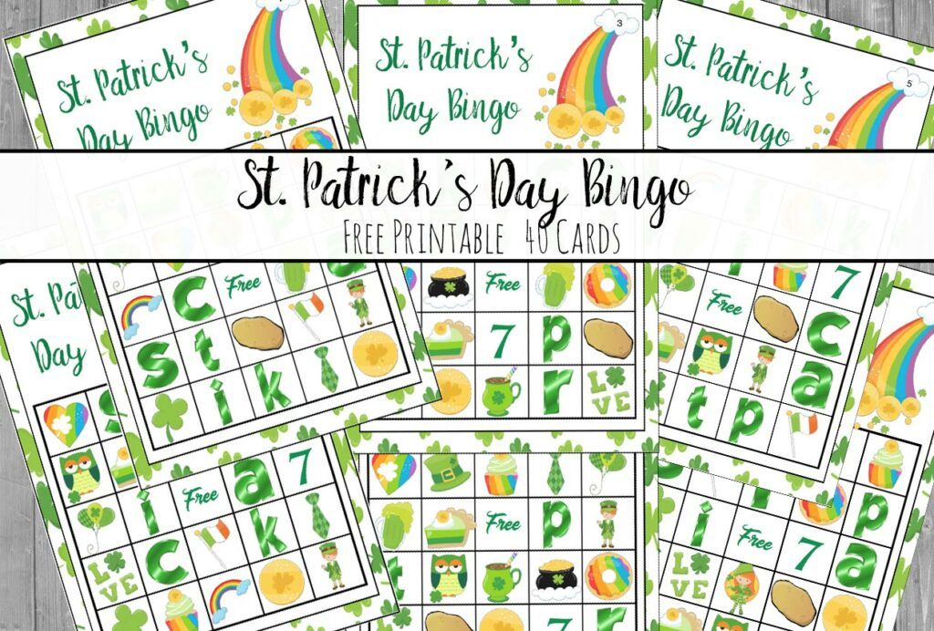"Free Printable St. Patrick's Day Bingo. Plus an optional twist on how to play ""Lucky Bingo"". 40 cards…enough for an entire class or changing cards."