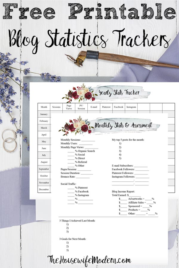 Free Printable Blog and Social Media Statistics Trackers. Two different trackers allow you to do monthly assessments as well as look at your year at a glance. #blog #blogging #free #printable #freeprintable #blogstats