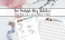 Free Printable Blog and Social Media Statistics Trackers. Two different trackers allow you to do monthly assessments as well as look at your year at a glance.
