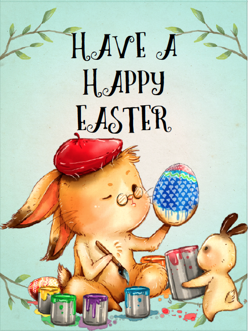 Painting easter bunny easter card. Free Printable Easter Cards. 4 different, adorable designs for everyone you know- children, friends, and family. #easter #card #eastercards