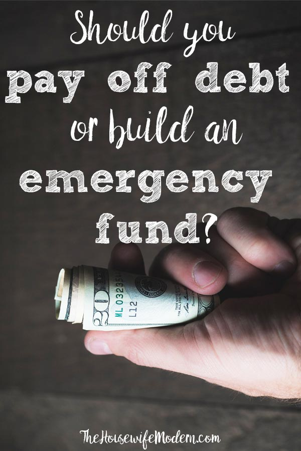 Is it Better to Have an Emergency Fund or Pay Off Debt? Find out the answer by analyzing the type of debt, your personal situation, and the pros and cons of each method. #budget #debt #emergencyfund #money