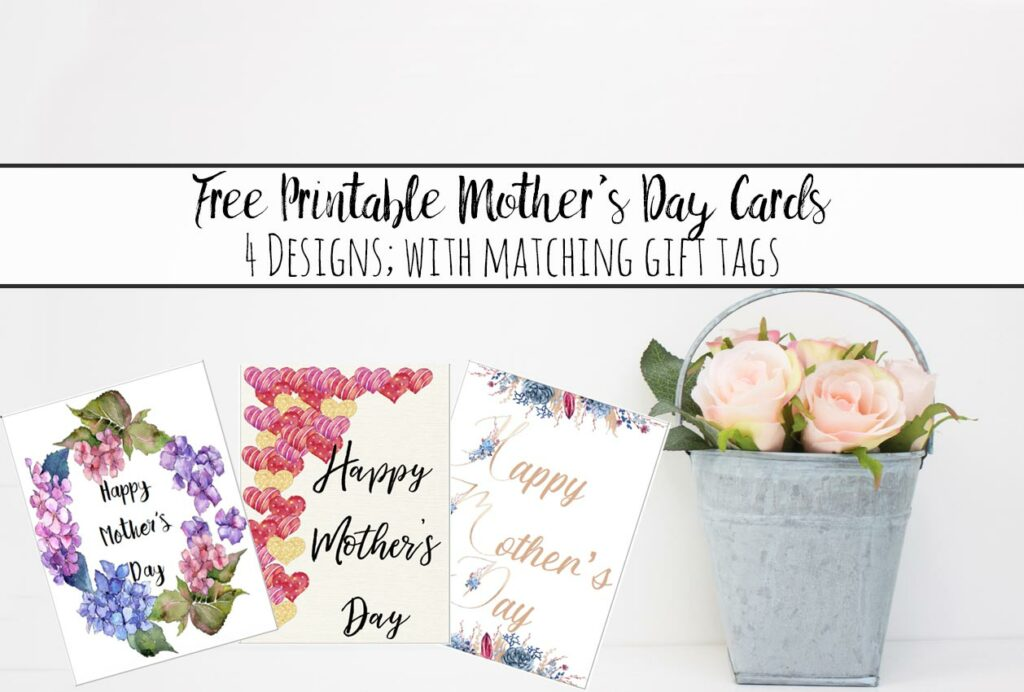 Free Printable Mother's Day Cards and Gift Tags. 4 different designs. Give a beautiful card to mom. Comes with matching gift tag.
