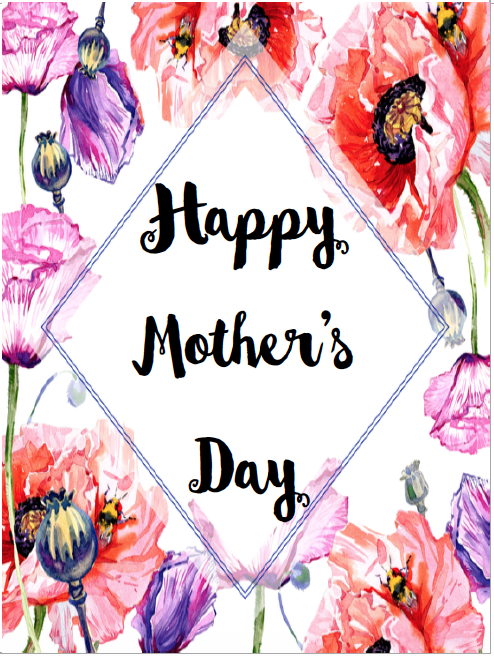 Card #4. Free Printable Mother's Day Cards and Gift Tags. 4 different designs. Give a beautiful card to mom. Comes with matching gift tag.