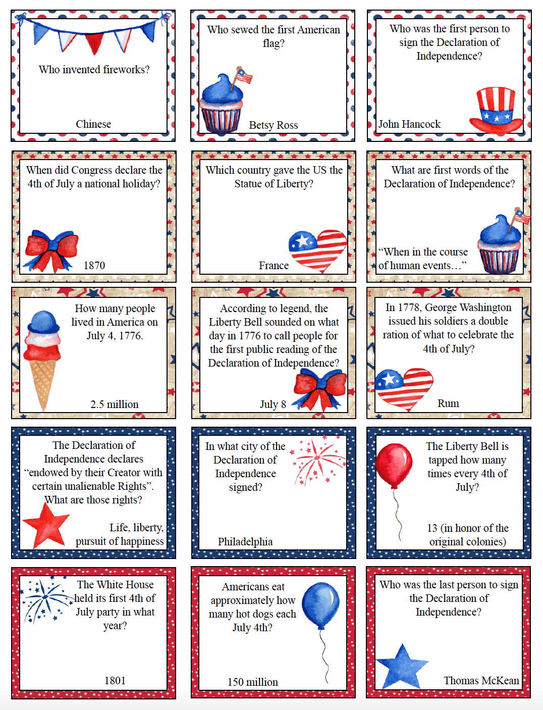 Free Printable 4th of July Trivia. Add some fun to any July 4th with free printable Fourth of July trivia. 30 patriotic questions. #free #printable #freeprintable #july4 #july4trivia #fourthofjulytrivia