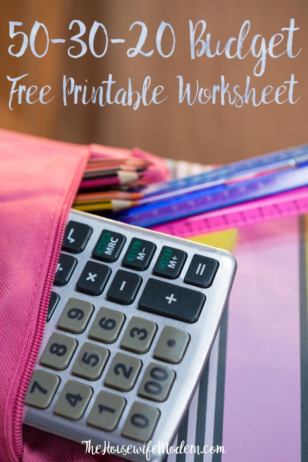 Take control of your money and start saving without a detailed budget. All about the 50-30-20 Budget and Free Printable Worksheet to help you. #budget #503020budget #savemoney