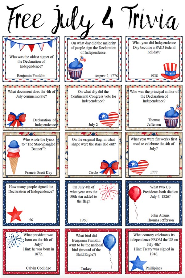 July trivia questions and answers  4th of July Trivia Questions