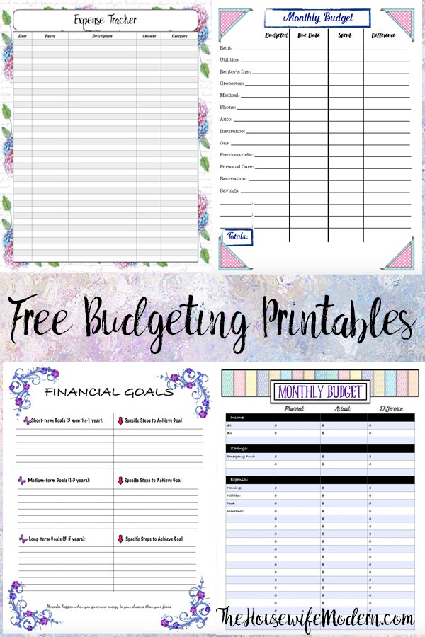Pin image for free budgeting printables.