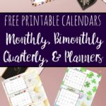 Pin images for free printable calendars & planners.