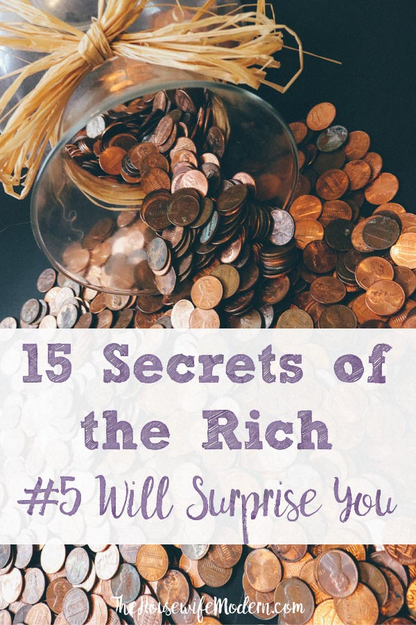 Pin image for secrets of rich people. Coins spilling out of vase with text overlay.