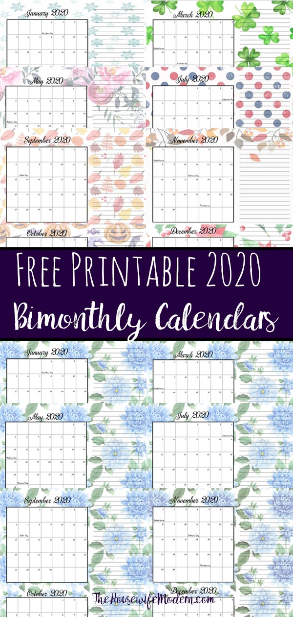 Pin image collage of 2020 bimonthly calendars.