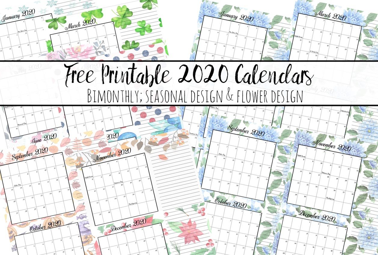 Free Printable 2020 Bimonthly Calendars with Holidays