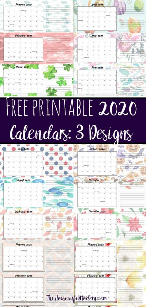 Pin image for 2020 free printable quarterly calendars.