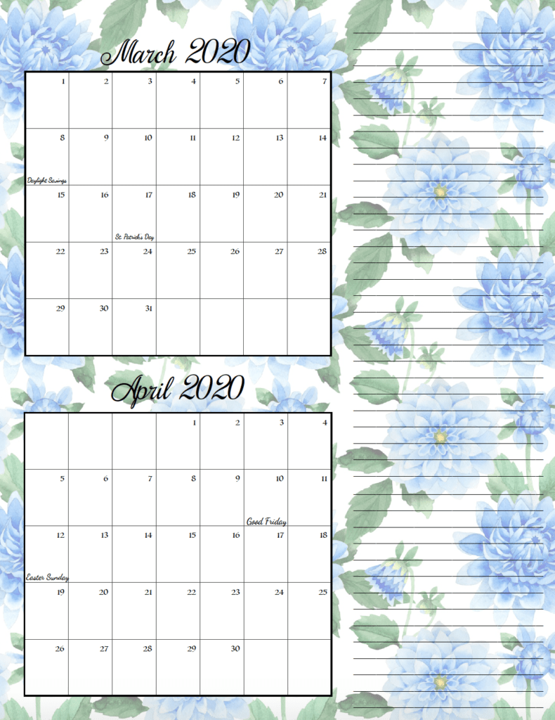 Floral theme March/April bimonthly calendar.