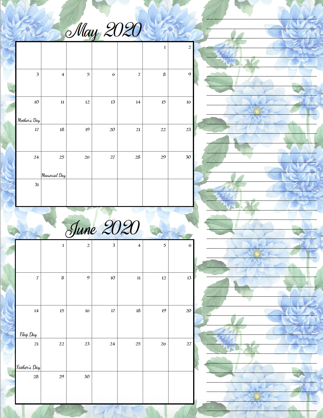 Floral theme May/June bimonthly calendar.