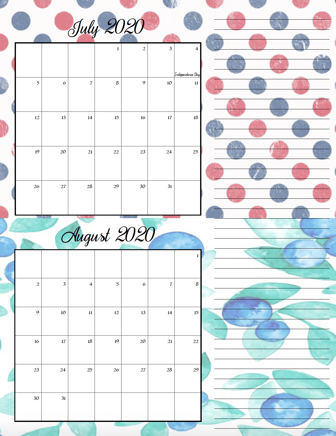 Holiday theme July/August bimonthly calendar.