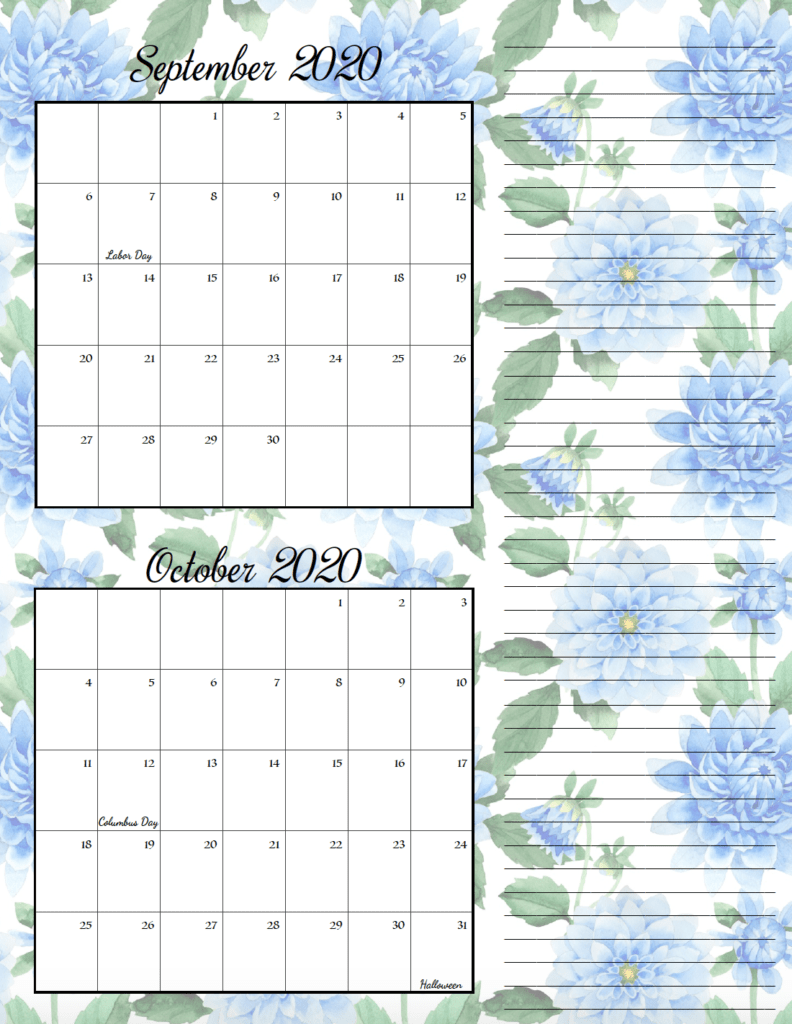 Floral theme September/October bimonthly calendar.
