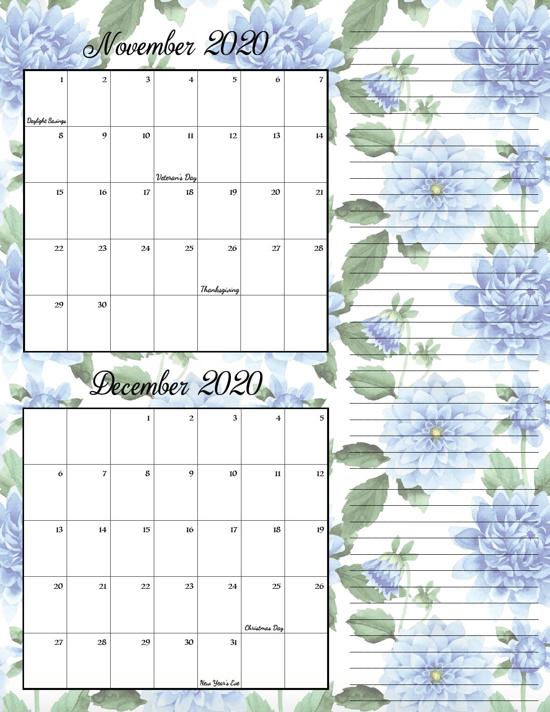 Floral theme November/December bimonthly calendar.