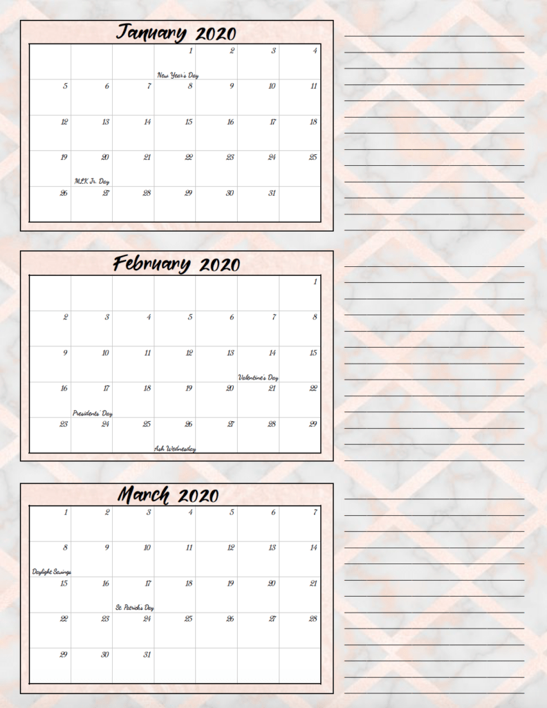 1st quarter rose gold and gray theme free printable 2020 calendar.
