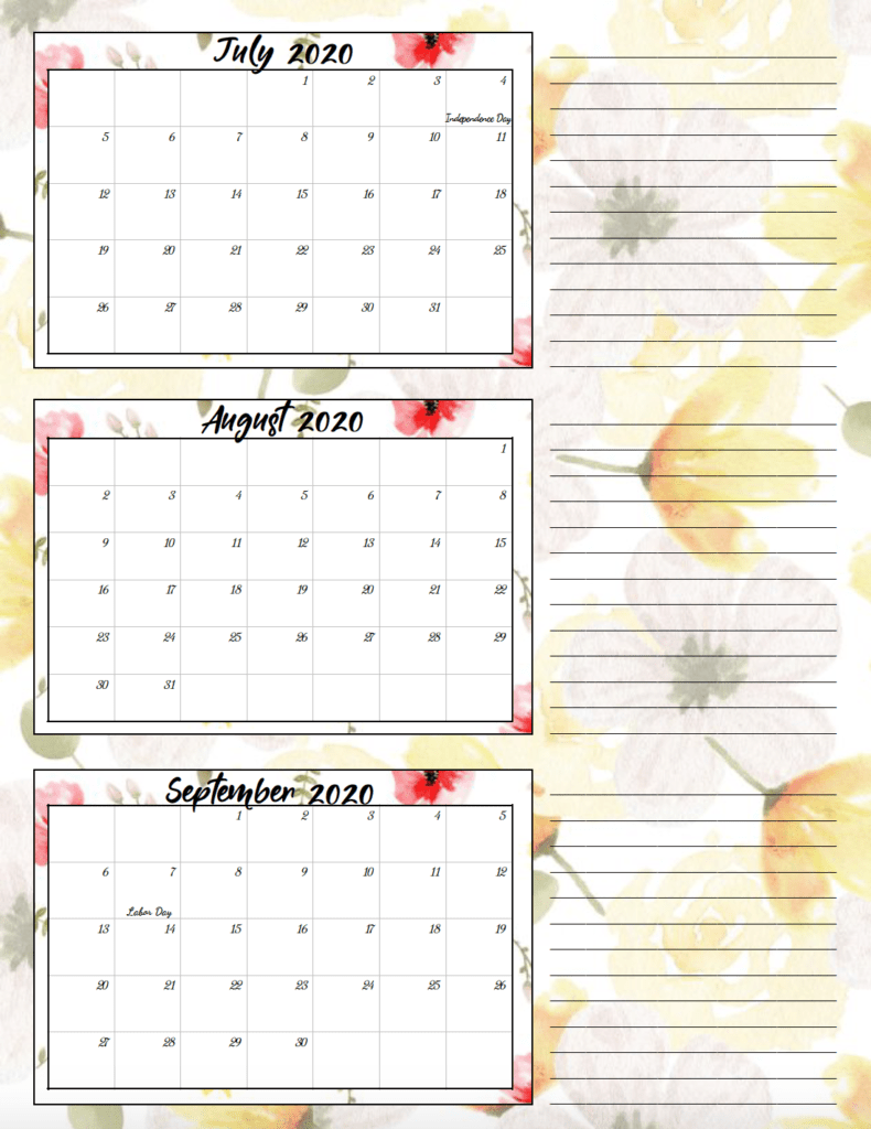 3rd quarter lemon yellow and rose theme free printable 2020 calendar.