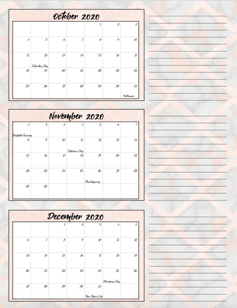 4th quarter rose gold and gray theme free printable 2020 calendar.