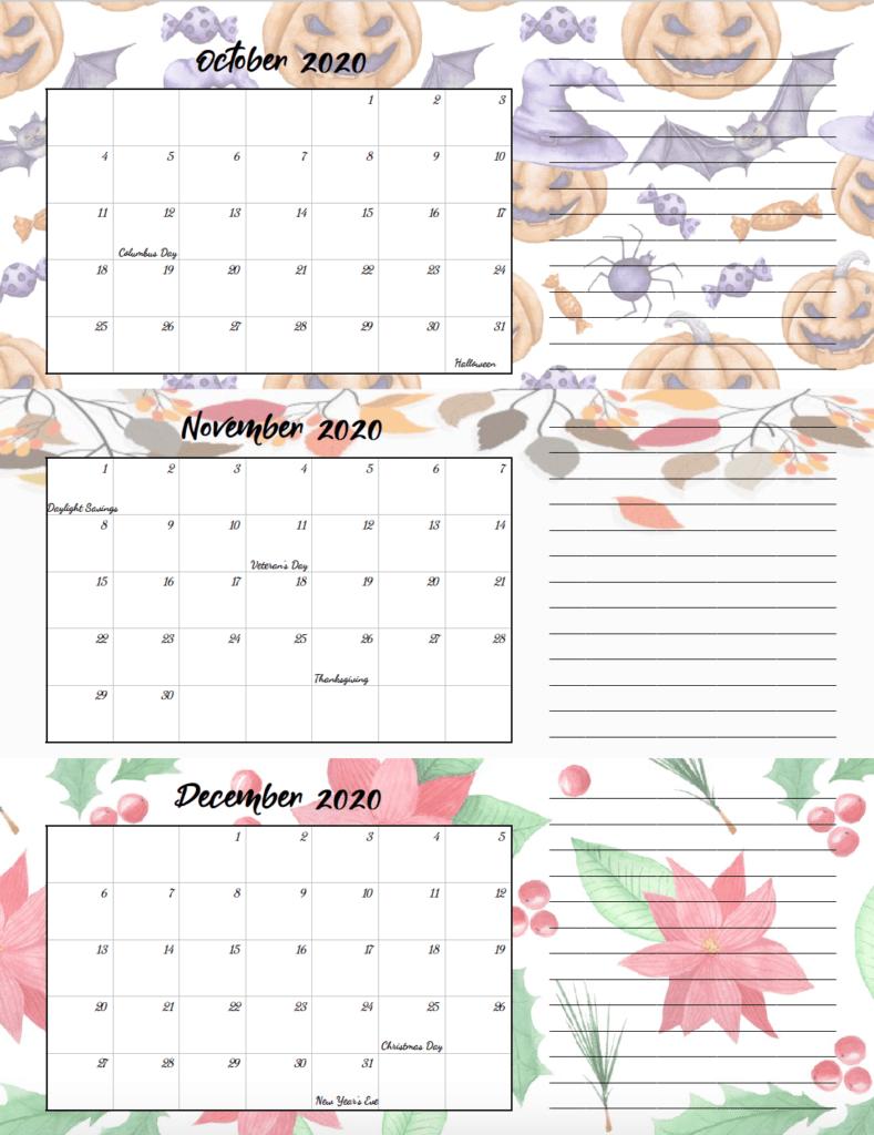 4th quarter holiday-theme free printable 2020 calendar.