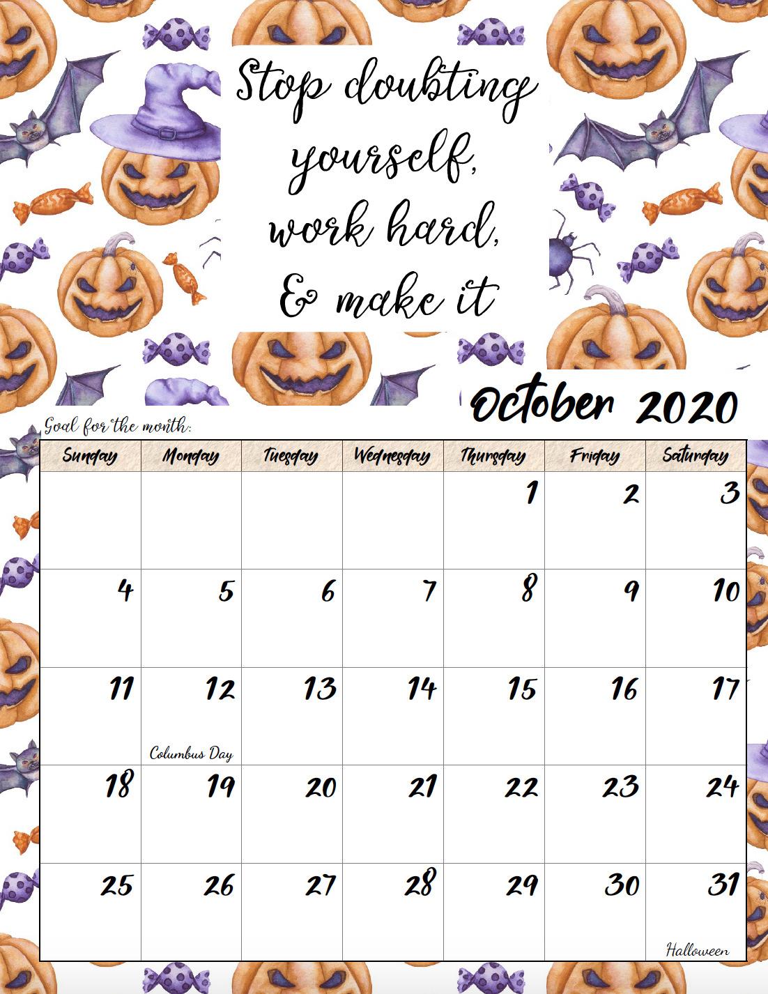Free printable October 2020 monthly motivational calendar.