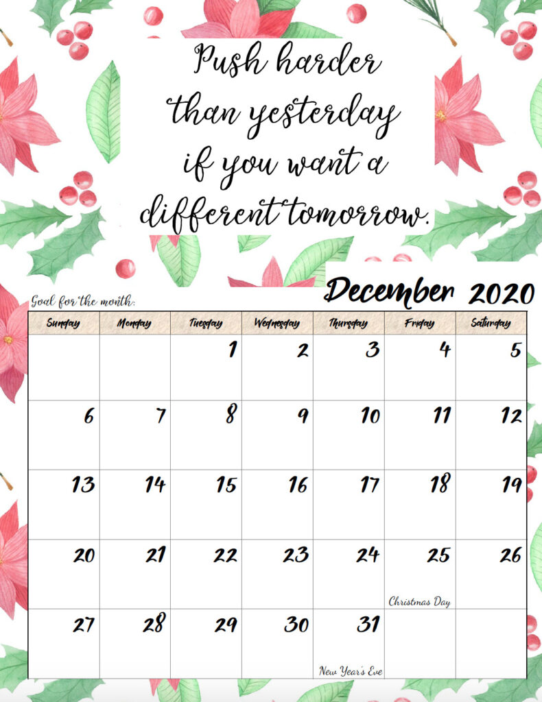 Free printable December 2020 monthly motivational calendar.
