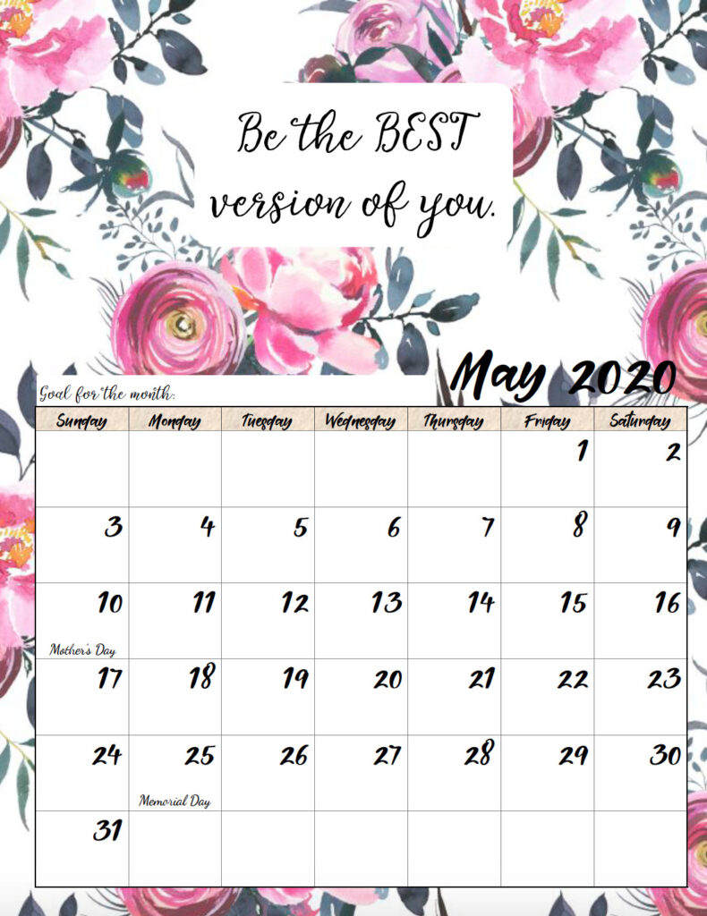 Free printable May 2020 monthly motivational calendar.