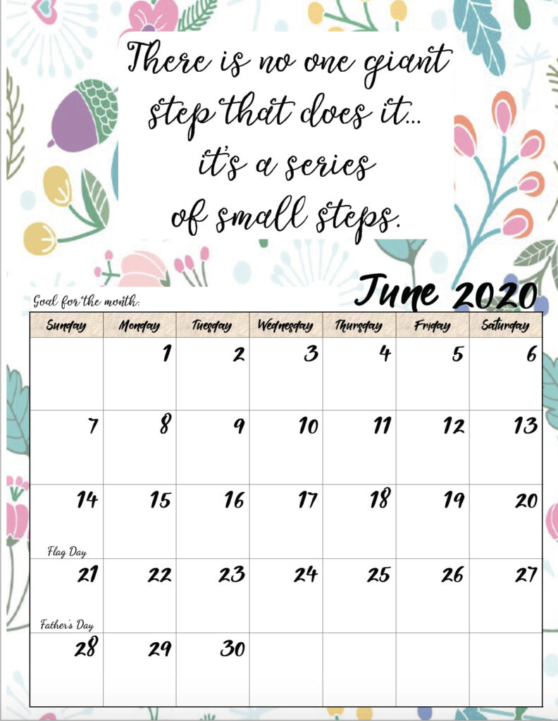 Free printable June 2020 monthly motivational calendar.