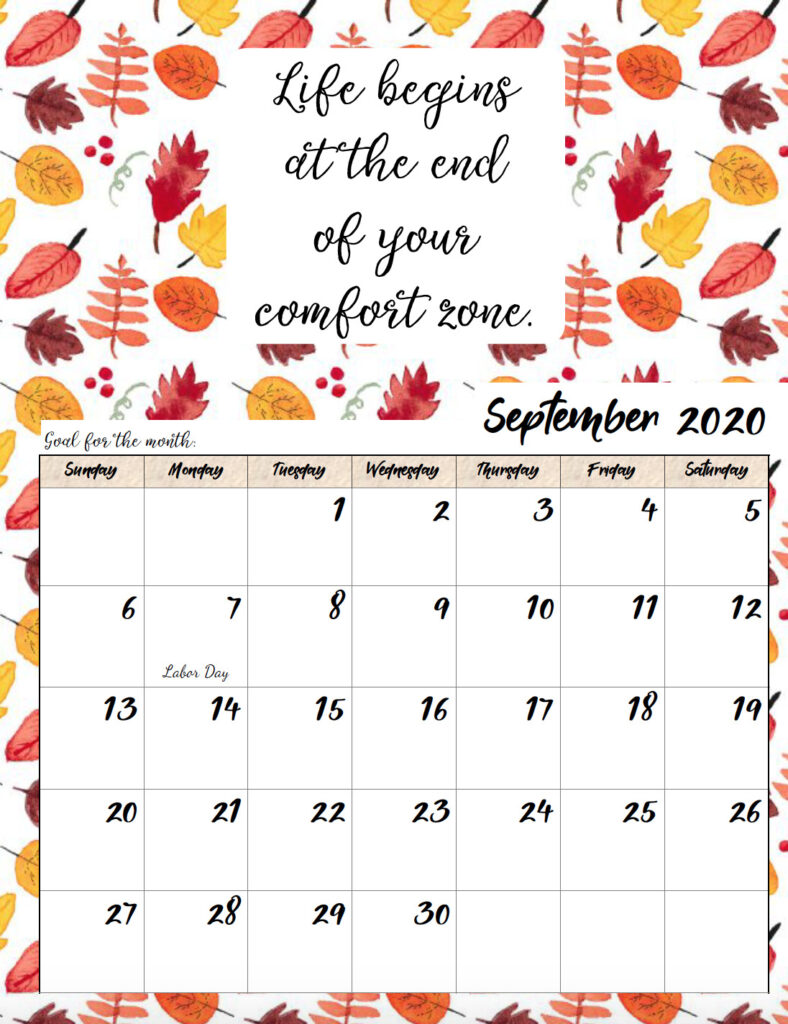 Free printable September 2020 monthly motivational calendar.