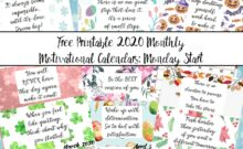 Featured image for free printable 2020 monday start monthly motivational calendars. Collage of calendars with text overlay.