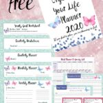 Pin image for free printable 2020 planner. Various pages featured with text overlay.