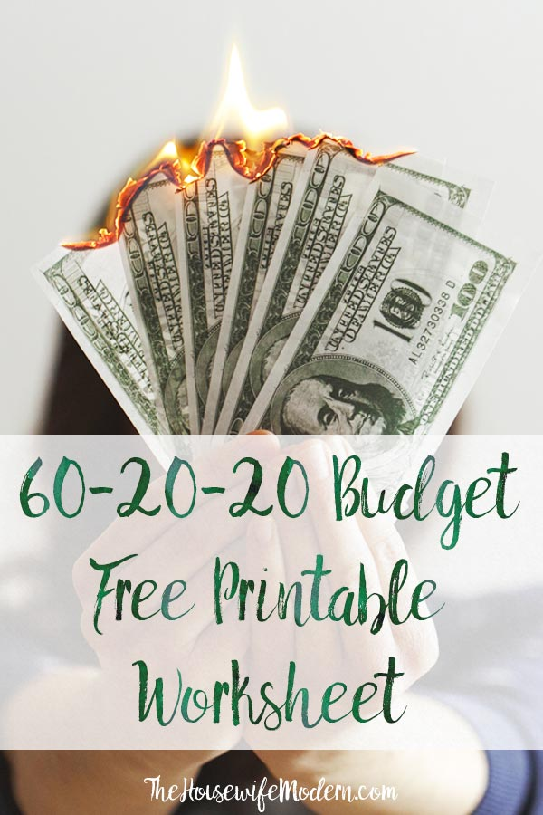 Pin image for 60-20-20 budget. Burning money with text overlay.