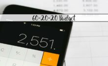 Featured image for 60-20-20 budget. Calculator with text overlay.