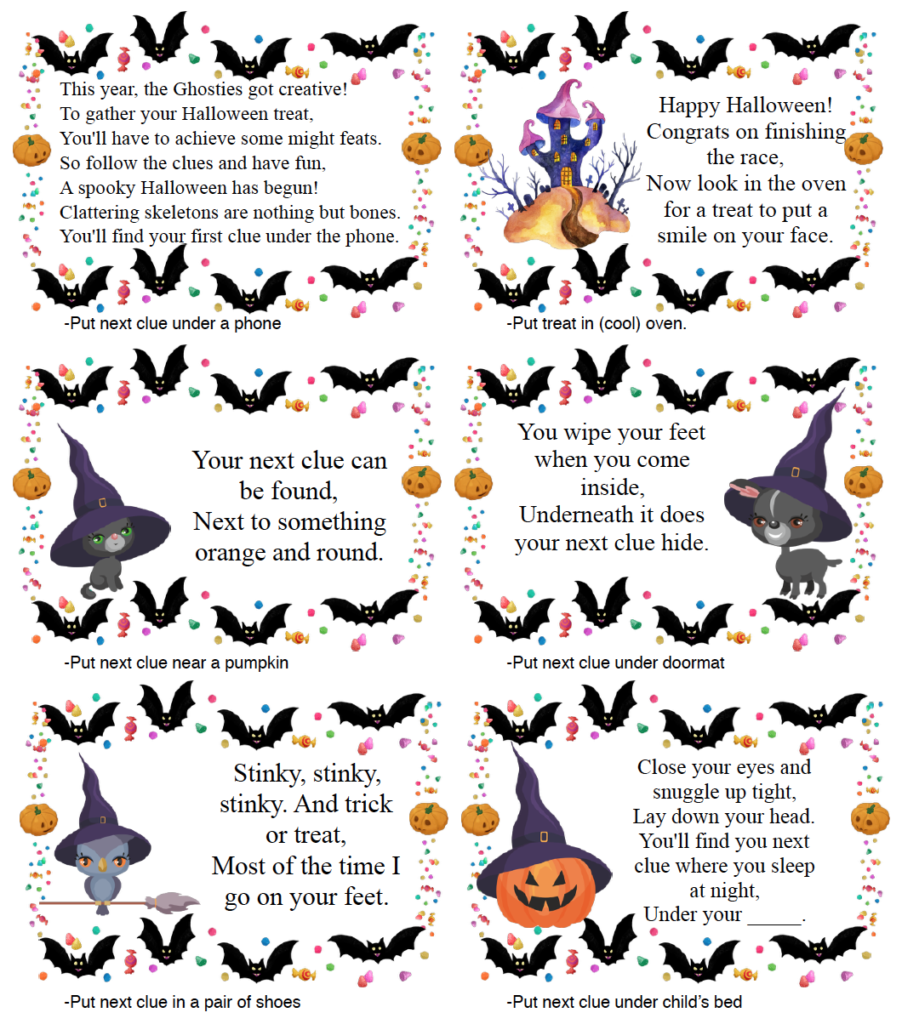 Page 1 of clues for free printable Halloween treasure hunt.