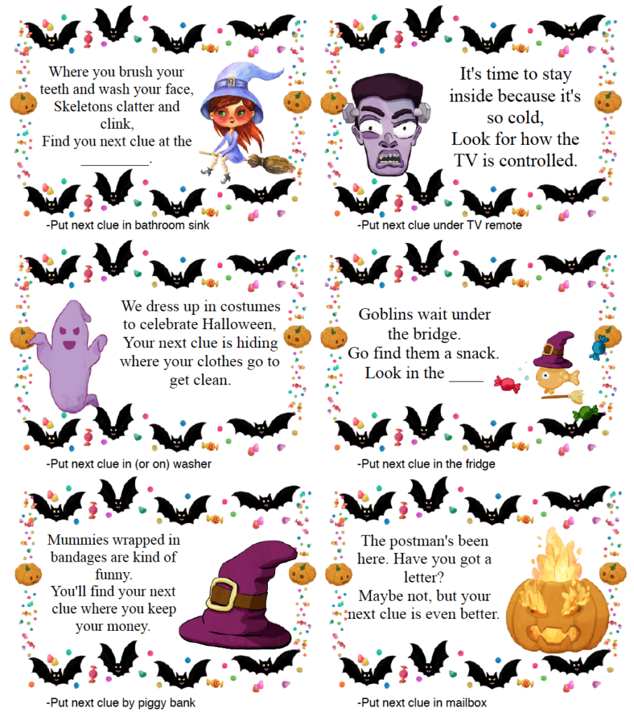 Page 2 of clues for free printable Halloween treasure hunt.