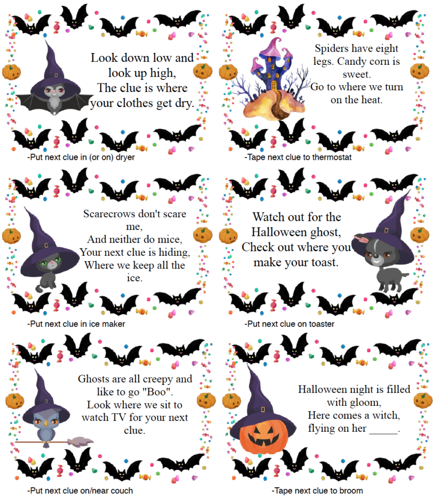 Page 3 of clues for free printable Halloween treasure hunt.